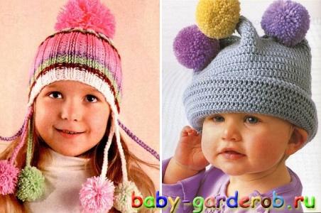 шапки с помпоном | Детские шапки с меховым